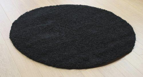 Muy Grande Calidad Shaggy Negro Plain Alfombra redonda (en Círculo (4'3'x 4' 3) 133x 133cm alfombra