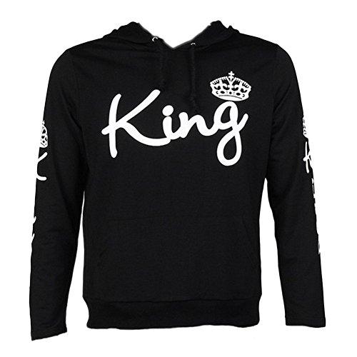 Tomwell King Queen Aufdruck Sweatshirt Pärchenpullover Set Hoodie mit Kaiserkrone Hoodie Damen Herren Kapuzenpullover mit Tasche F King Schwarz EU S