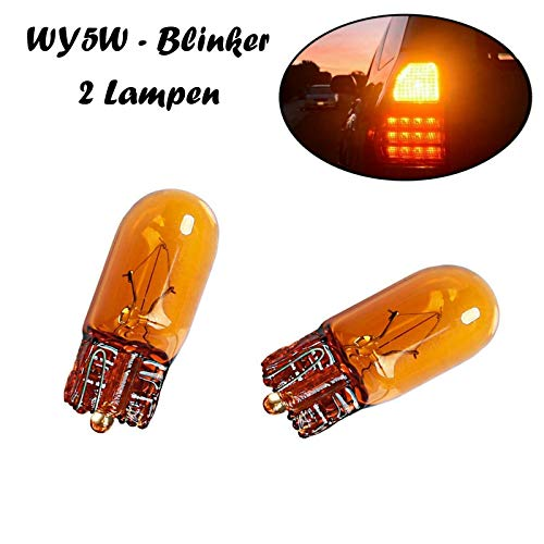 2x Jurmann WY5W 12V T10 W2.1x9x5d Orange Amber Blinkleuchte - Blinker vorne Blinker hinten Seitenblinker Ersatz Halogen Auto Lampe E-geprüft