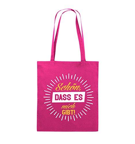 Comedy Bags - Schön, dass es mich gibt! - Jutebeutel - lange Henkel - 38x42cm - Farbe: Schwarz / Weiss-Neongrün Pink / Gelb-Weiss