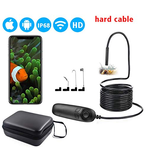 Endoscopio Wifi USB 1200P HD Impermeabile Telecamera Ispezione Boroscopio 3.5M Semi Rigido Cavo Endoscopio Compatibile con Iphone IOS e Smartphone Android Tablet,10M