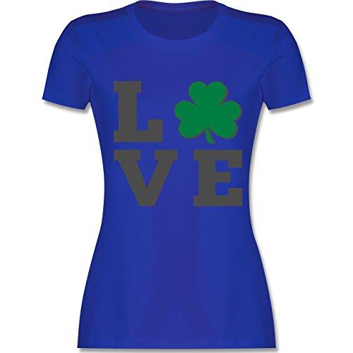 Shirtracer St. Patricks Day - Kleeblatt Love - Damen T-Shirt Rundhals Royalblau