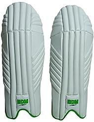 BDM Aero Dynamic Cricket Wicket Keeping Pads Leg Guard PU cuir blanc