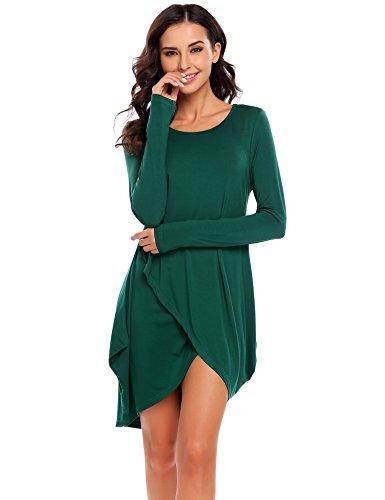 b5d35d8477f9f5 Finejo Damen Rundhals Irregulär Kleid Beiläufiges Langarm Minikleid T-Shirt  Kleid