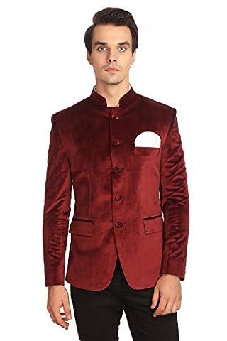Wintage Men's Velvet Grandad Nehru Blazer Coat Jacket:Maroon, 2X-Large