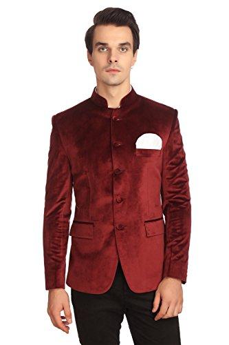 Wintage Herren Samt Grandad Nehru Blazer Mantel Jacke: Kastanienbraun, 3XL