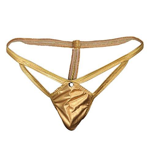 AMUSTER Herren G-Strings Männer Seductive Dessous Kunstleder Crotch Body Tangas Unterhose Sexy Thong Unterwäsche Kostüm Boxershorts Spitzen Unterwäsche (Free Size, Gold)
