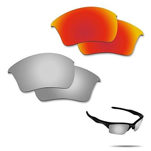 fiskr anti-saltwater Polarisierte Ersatz Gläser für Oakley Half Jacket 2.0XL Sonnenbrille 2Paar verpackt, Fire Red & Metallic Silver