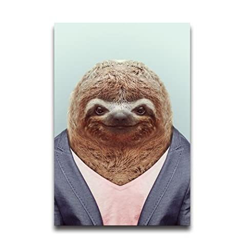 Sloth In Cloth Funny Design Animal Poster Wall Sticker Home