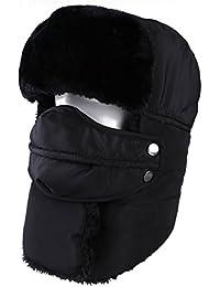 topnaca Unisex adultos Bomber Invierno Trapper gorro con máscara y cuello más cálido, impermeable térmico cálido estilo ruso para nieve esquí caza senderismo