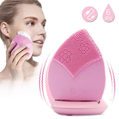 Moonssy Gesichtsreinigungsbürste, Silikon, elektrische Schallbürste, vibrierend, rotes Licht, wasserdicht, für sensible Haut, Anti-Aging, tiefes Peeling, Make-up-Werkzeug für die Haut, wiederaufladbar
