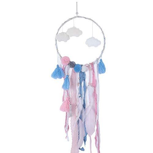 Lapirek - Atrapasueños LED, diseño de Plumas de Nube, Regalo de cumpleaños, decoración para habitación de bebé, Diameter 20CM/Overall Length 75cm