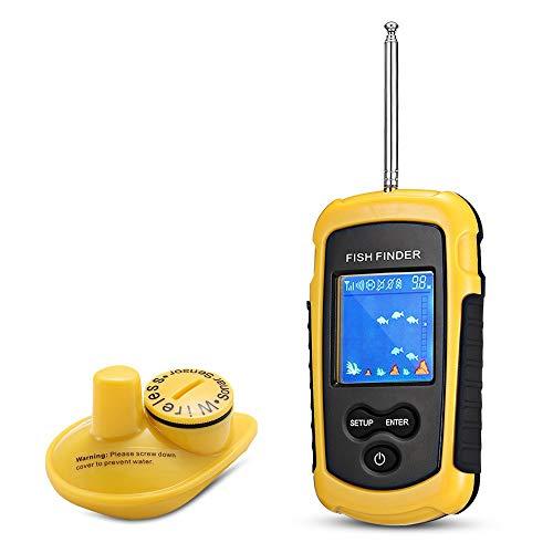 QYLT Tragbarer Wasserdicht Fishfinder, Angeln Sonar Sensor, Wireless LCD Tiefe Finder Echolot, für Boote, Seeufer und Eisfischen
