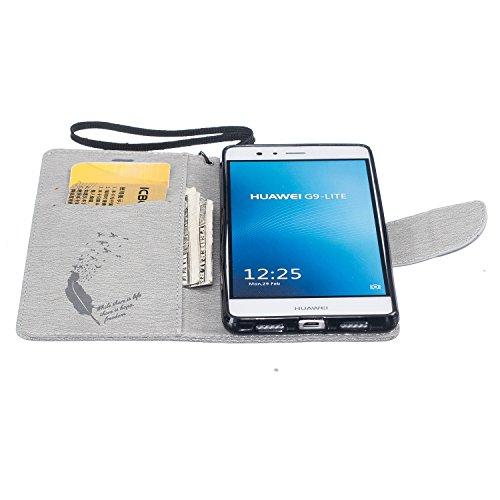 Cover Huawei P9 Lite 2016, Custodia Huawei P9 Lite 2016, Sunroyal [RFID Blocco Portafoglio] Bling Diamante Custodia 100% da del Raccoglitore Manofatto Basamento per Carta di Credito Copertura protetti Modello 13