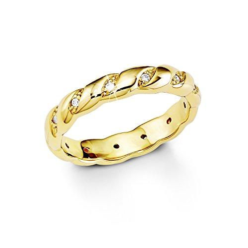 S.Oliver Damen-Ring Silber vergoldet teilvergoldet Zirkonia weiß Gr. 54 (17.2) - 508391