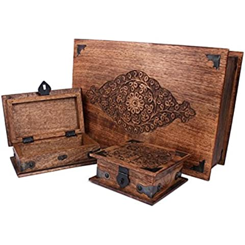 Regalos de Navidad, Exclusivos de madera cajas de recuerdo Conjunto de 3 joyeria organizadores del sostenedor de la baratija con tallas