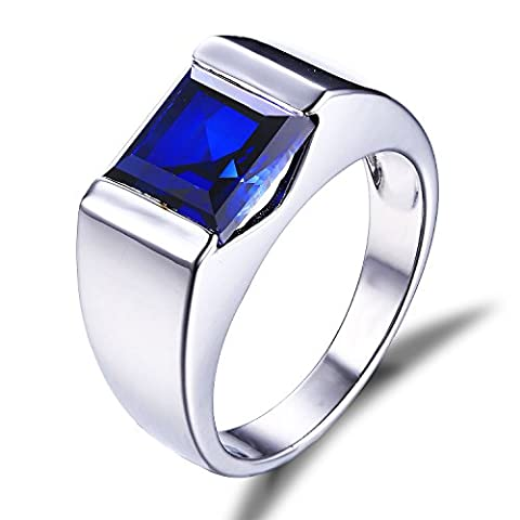Jewelrypalace Men's 3.4ct Blue Created Sapphire Ring Solid 925 Sterling