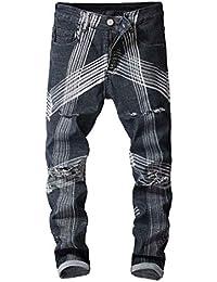 GreatFun Moda da Uomo Gradient Line Design Stretchy Strappato Skinny Bike  Cycle Jeans Outdoor Destroyed Taped Slim Fit Cool Denim… 602586ebf5f