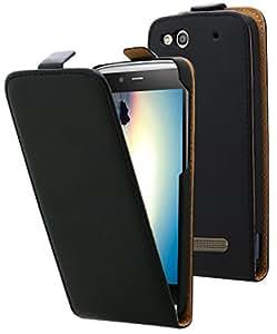 Etui Alcatel One Touch Idol Alpha - Housse ultra fine noire avec coque de protection intégrée pour Alcatel One Touch Idol Alpha . Interieur beige doux pour ne pas rayer l'écran de votre Alcatel One Touch Idol Alpha