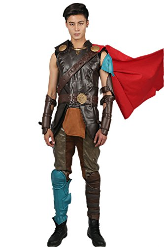 Thor Kostüm Deluxe Adult - Pandacos Thor Kostüm Herren Cosplay Costume Deluxe Lederkostüm 16er Set Film Zubehör für Party, Karneval und Fasching