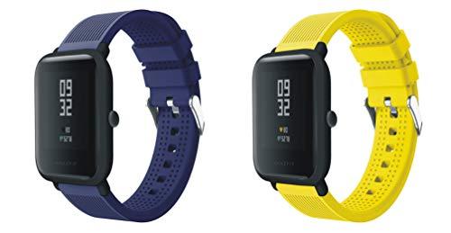 XingWangFa for Xiaomi Amazfit Straps Armbands 20mm [2 Pack][Chuanzi Pattern] Soft Silicone Sport Armband Replacement Strap for Xiaomi Huami Amazfit Bip Younth SmartWatch