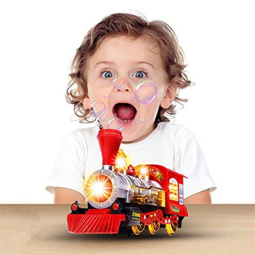 Eliasan Züge Spielzeug Dampfzug Lokomotive Auto Blase weht Stoß Batteriebetriebene Spielzeugeisenbahn Bunte Lichter Fun Sounds für Kinder (Puzzle Dampfmaschine)