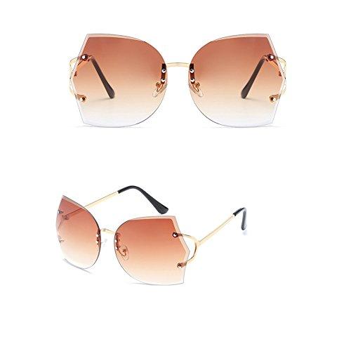 SIMPLEWORD Künstliche Crystal Embellishment Marke Luxus 2018 Randlose Sonnenbrille Damen Gradient Vintage UV-Schutz
