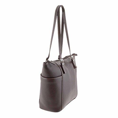 Style de sac en cuir panier Marron