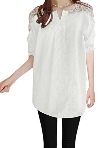 sourcingmap® Allegra K Divisé Femmes cou manches coude Floral Désign Casual Tops white