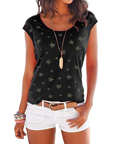 YOINS T-Shirt Damen Shirt Oberteile Sexy Oberteil für Damen Tops Sommer Ärmellos Rundhals mit Sterne Schwarz L