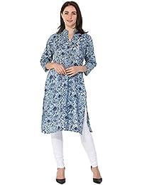 BLUEPOCKET Kurti / Kurta For Women (Cotton, Straight, Long, Sky Grey)