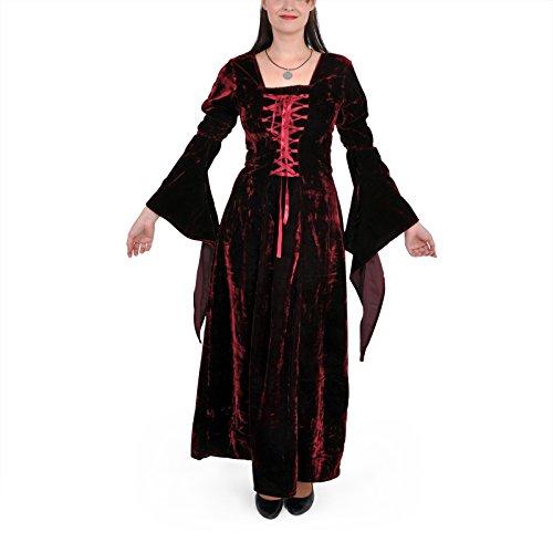 Mittelalter Gothic Kleid, Samt, lang, rot, Größe XL