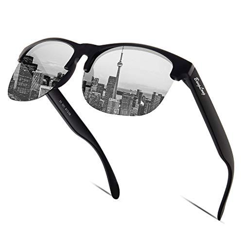 BangLong Sonnenbrille Damen Herren, Halbrahmen Polarisiert Sonnenbrille Retro Klassische Sonnenbrille Fahrer Brille Frauen UV400 Verspiegelt (Black)