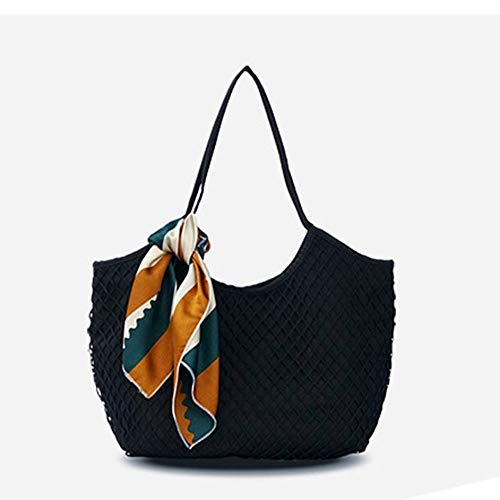 Mebeauty-Bag Damen Stroh Handtaschen Damenfutter Große Durchbrochene Segeltuchtasche Strandtasche Sommer Casual Schultertasche Handtasche Vier Farben Optional Sommer-Strandtasche -