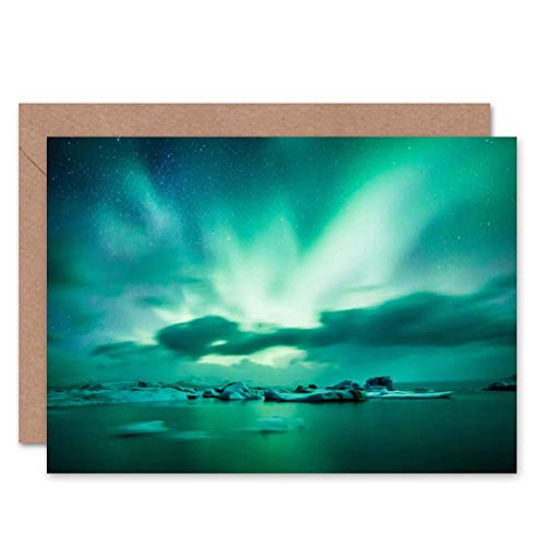Wee Blue Coo LTD Greeting Gift Photo Arctic Aurora Borealis Northern Lights Sealed Greeting Card Plus Envelope Blank Inside Geschenk Fotografieren Licht