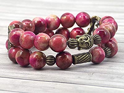 Bracelet pour femme Boho Gipsy multirangs en jade naturel blanc teinté en rouge