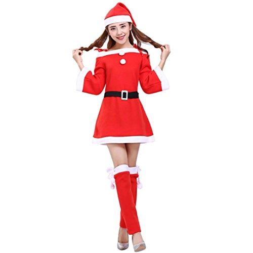 LUCKYCAT Räumungsverkauf Weihnachtskleid Damen Weihnachtsstadiums Aufführungskleidungs Showkostümklage Weihnachtsmann Kleidung Kostüm Party Cosplay Outfit Kostüm Set (Rot, EU 40--XL) (Günstige Santa-outfits)