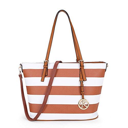 Frauen gestreifte farbige Handtasche Funktionalität große geschmackvolle Schultasche mit lange verstellbare und abnehmbare Armband