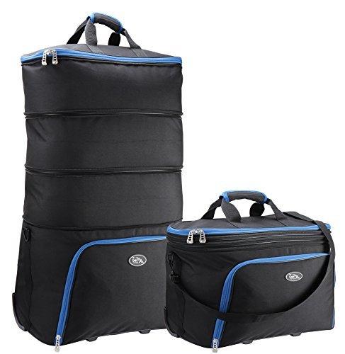 Cabin Max Brno Erweiterbar Kabine Tasche 40 x 50 x 25 cm - erweitert Größe zu halten (50 x 82 x 25 cm) (Schwarz/Blau)