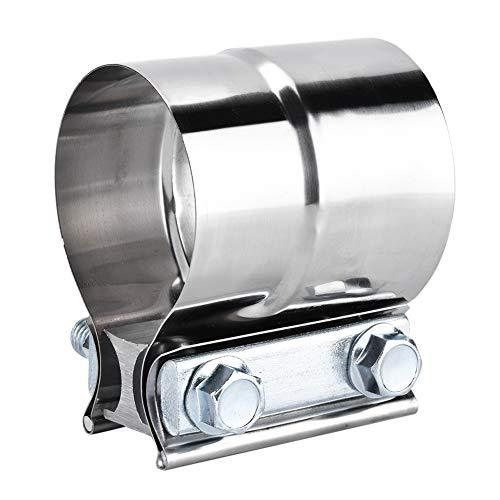 Duokon Universal 2.5in Abrazadera para tubo de escape Acero inoxidable Universal Car Abrazadera para tubo de escape Banda de unión de solapa Forma en forma de U (2.5 pulgadas)