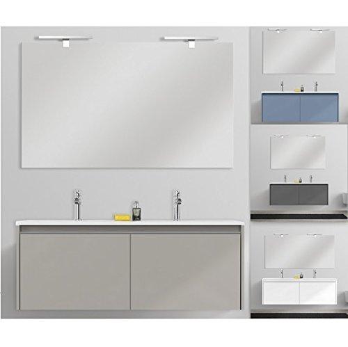 Mobile arredo bagno yang 120 cm sospeso 2 cassettoni in 4 colori doppio lavabo mineralmarmo in mdf arredi