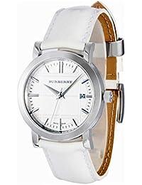 Burberry - Reloj de cuarzo blanco con correa de piel (Luz, cristal mineral)