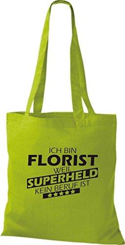 Shirtstown Stoffbeutel Ich bin Florist, weil Superheld kein Beruf ist kiwi