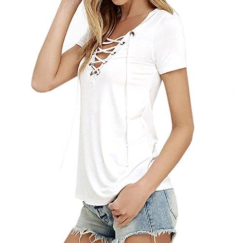 West See Damen Sommer T-Shirts Kurzarm V-Ausschnitt Verband Bluse Hemd Tops Tank Weiß Khaki Weiß
