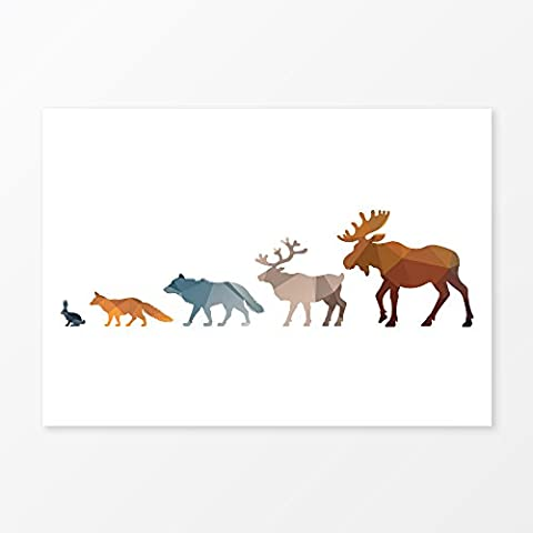 Woodland Animals Nursery Wall Art Print, Size 5x7, 8x10, 11x14, A5, A4 or A3, Forest Animal Home