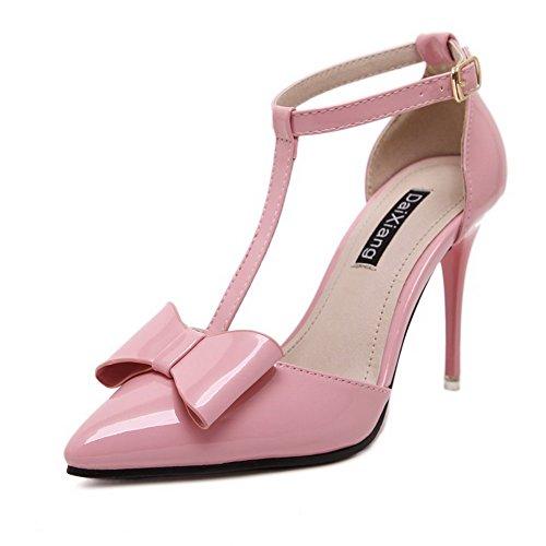 AalarDom Damen Pu Leder Stiletto Rein Schnalle Pumps Schuhe mit Schleife Pink