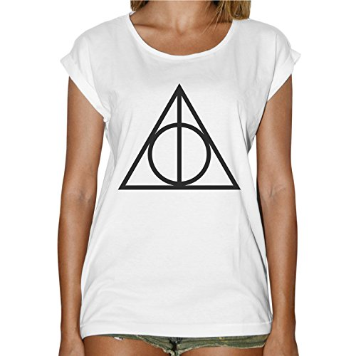 T-Shirt Donna Fashion Simbolo Deathly Hallows Harry Potter- Bianco