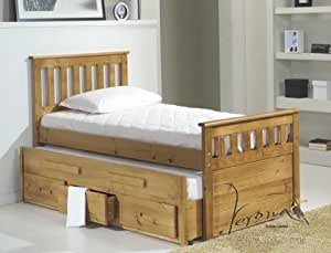 SINGLE CAPTAINS BED, WITH PULL OUT BED & 2 X SPRUNG MATTRESSES FROM CENTURION PINE
