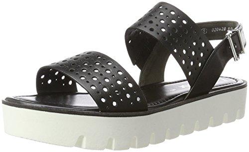 Gabor Shoes Damen Fashion Offene Sandalen mit Keilabsatz, Schwarz (Schwarz (S. Weiss) 27), 39 EU (Fashion Sandale Leder)