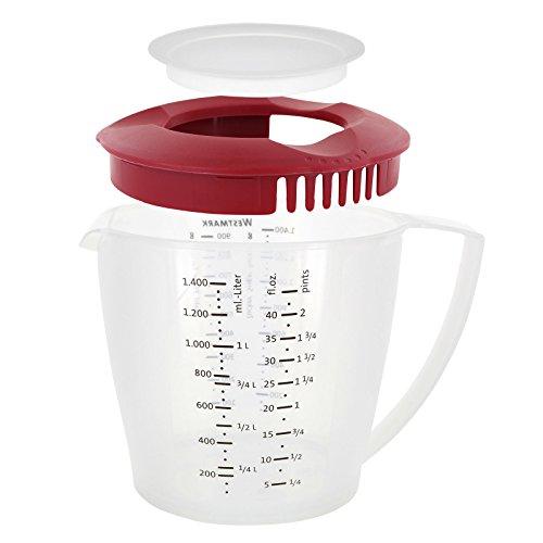 Westmark Rührbecher mit Spritzschutz, Deckel und Ausgießer, Kunststoff, Füllvolumen: 1,4 Liter, Helena, Transparent/Rot, 3105227R